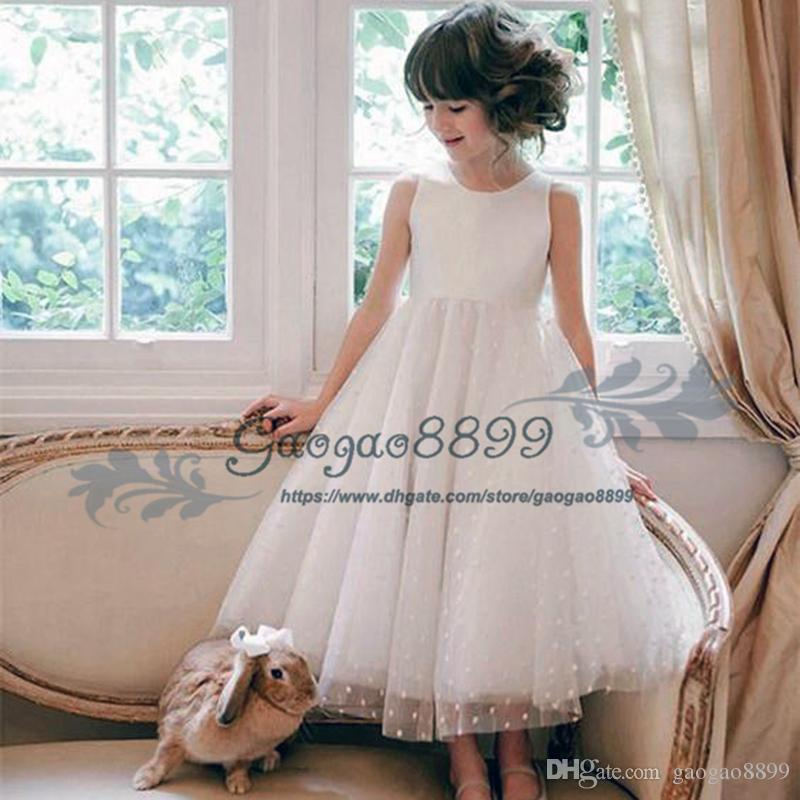 Glamorous Tulle Jewel Neckline Ankle-length A-line Flower Girl Dresses for wedding lovely Polka dot lace Kids Toddler First Communion Dress