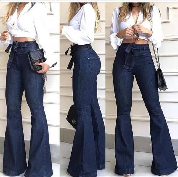 Pantaloni sudamericano a vita alta micro-elastico Lace-up a zampa Pantaloni a gamba larga Jeans