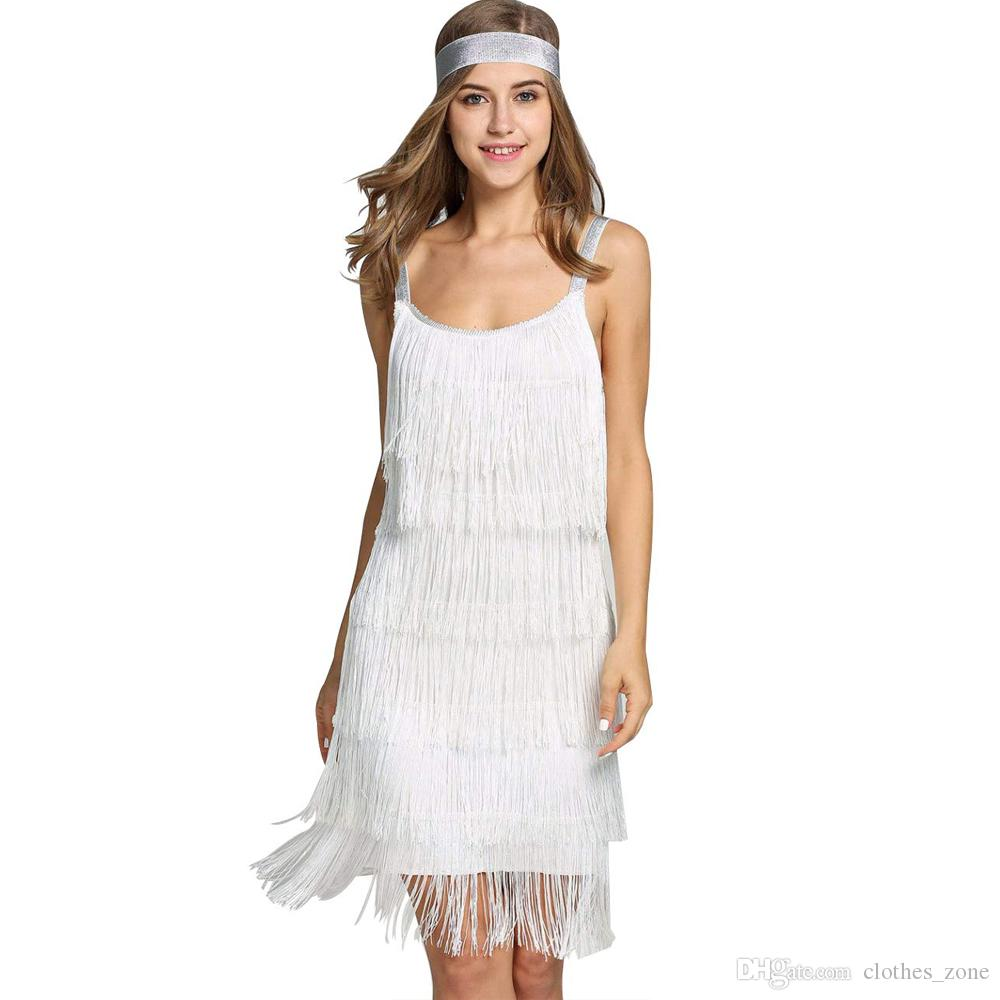 mini robe blanc femmes glands robe bretelles gatsby cocktail robe de soirée costume de clapet à franges