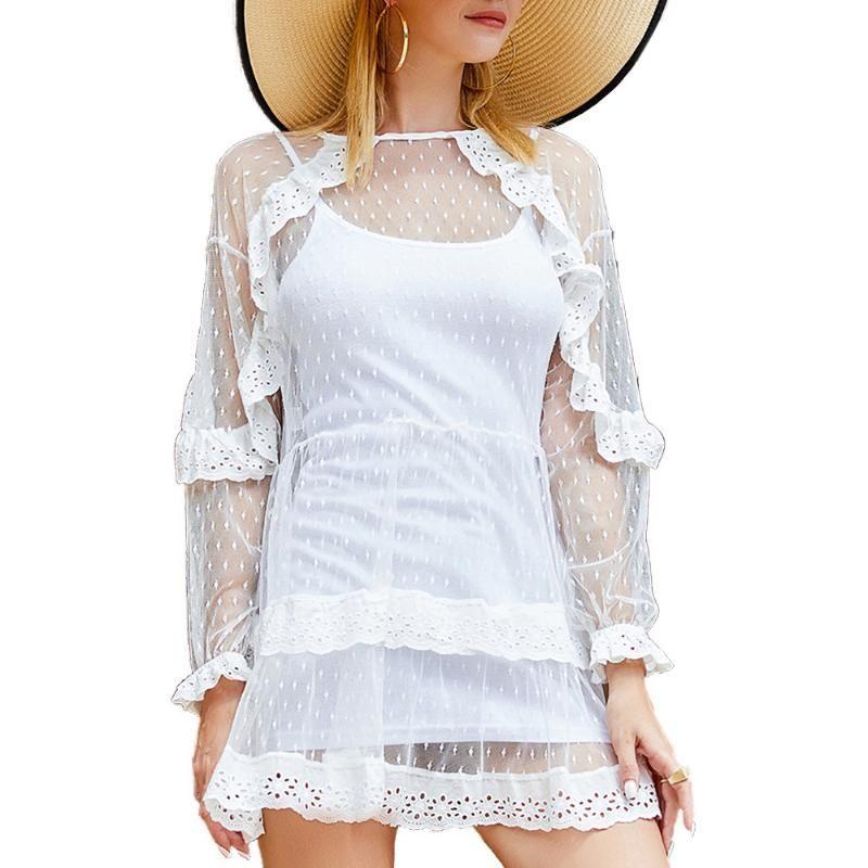 Les femmes T-shirt Voir au travers Hauts transparent à manches longues Princesse Wind Bud soie évider crochet fleur Bask T-shirt à col roulé 1pc