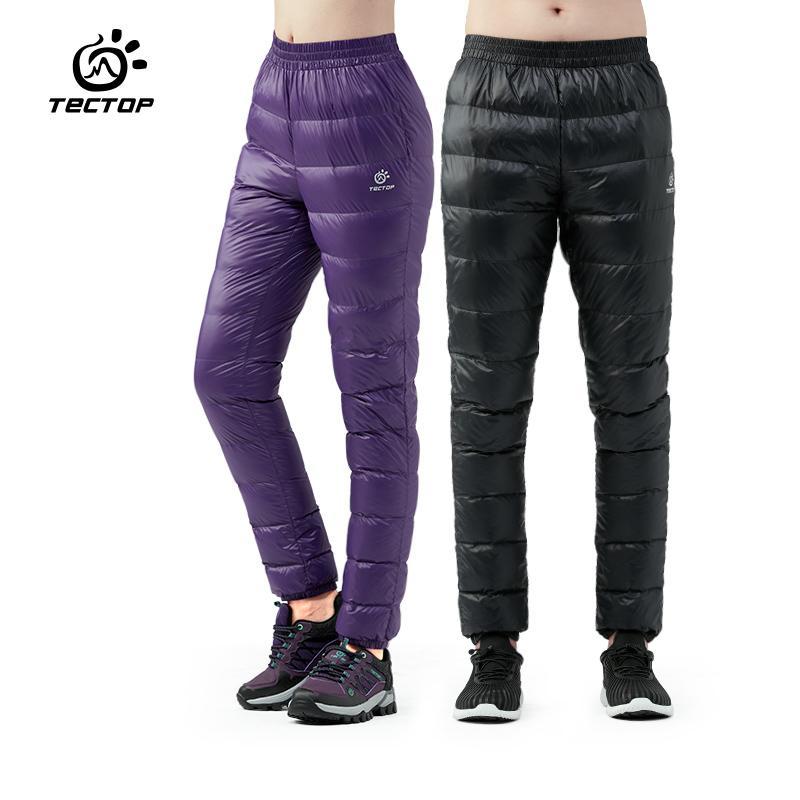 Pantaloni outwear invernali in piumino d'anatra ultraleggero Unisex Super leggero antivento Plus Size pantaloni caldi Sci sciolto Pantaloni da trekking