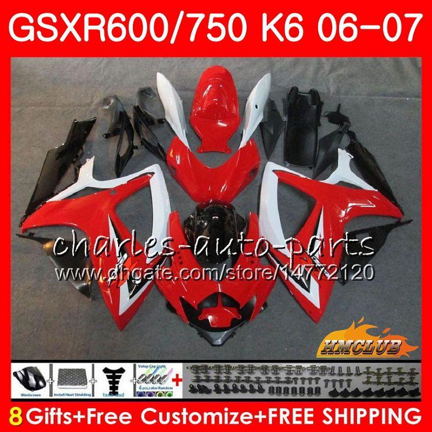 Body For SUZUKI GSX R600 GSX-R750 GSXR-600 GSXR600 06-07 8HC.19 GSX R750 red black hot GSXR 600 750 06 07 K6 GSXR750 2006 2007 Fairing kit