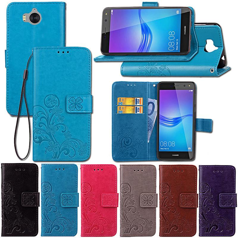 Case Pu Leather Wallet Cover Flip Phone Case For Huawei Y6 Y 6 ...