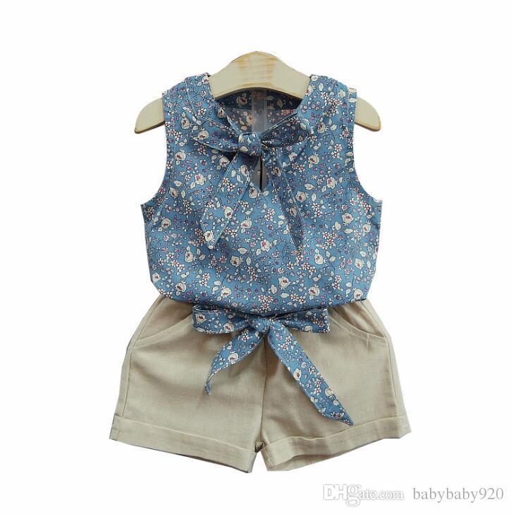 2019 broken flower fresh han edition children's wear a two-piece suit sleeveless shorts sells children's clothes