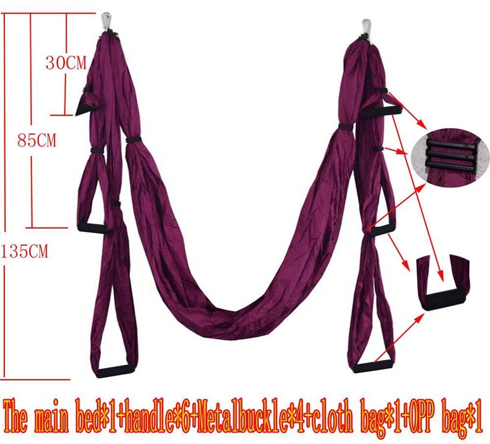 Wholesale- 2.5m*1.5m Elastic Exercise Yoga hammock Aerial swing anti-gravity Yoga belt Inversion Trapeze hanging gym traction