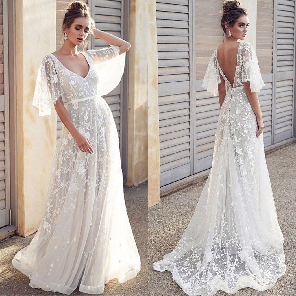 großhandel sommerkleid frauen elegante vintage formale sexy v ausschnitt  hochzeit backless lange abendgesellschaft prom weißes kleid vestidos robe