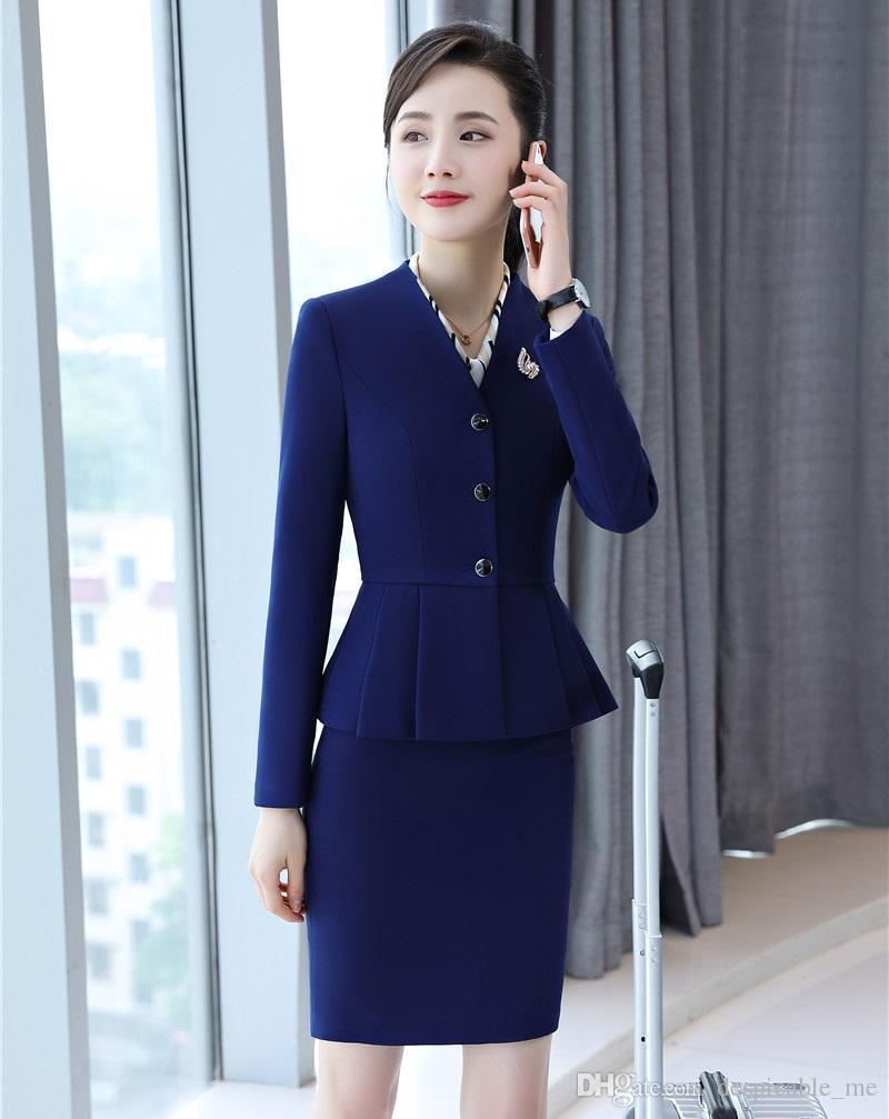 Formal Blue Blazer Women Skirt Suits Blazer and Jacket Sets Ladies Business Suits Office Uniform Designs Styles