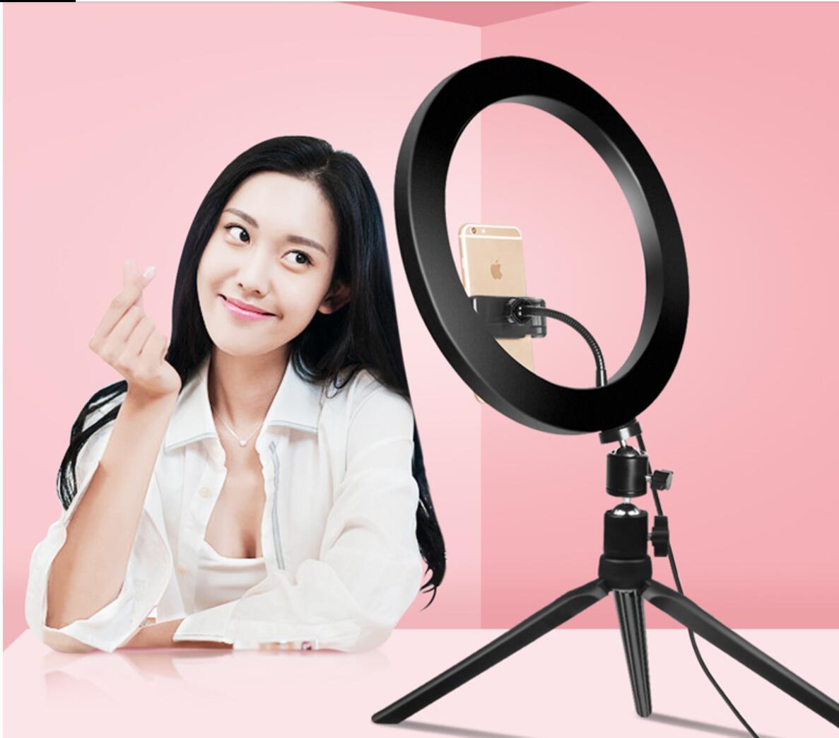 Light Ring 26 centimetri Telefono LED selfie anello della lampada della novità Novedades 2019 Video Fotografia Live Studio Fill chiaro Photo luce per smartphone