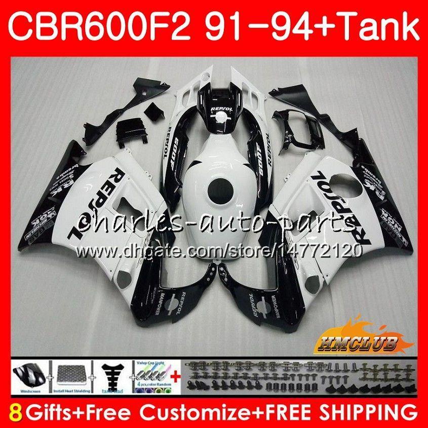 Kropp + Tank för Honda CBR 600F2 CBR600FS CBR 600 FS F2 91 92 93 94 40HC.13 600cc CBR600 F2 CBR600F2 1991 1992 1993 1994 Fairing Repsol White