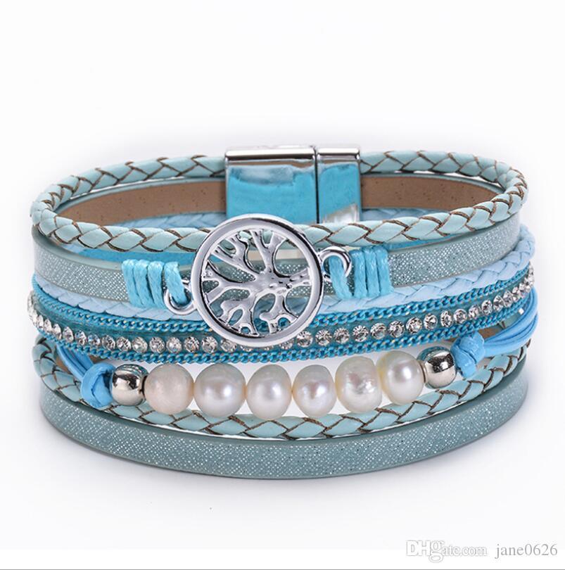 Pearl Tree of Life Magnet Button Men's Bracelet Multi layer leather bracelet with full drill Bracelet