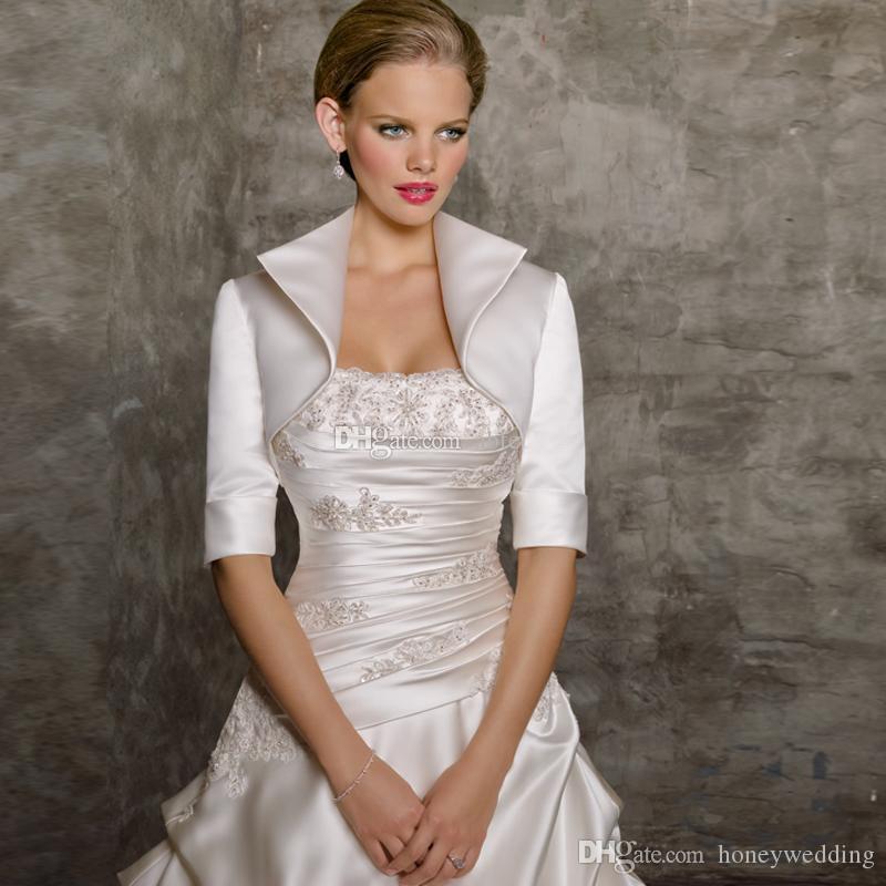 Custom Made Wedding Jackets Half Sleeves Any Color And Size Prom Party Satin Bridal Shrugs / Jacket / Bolero