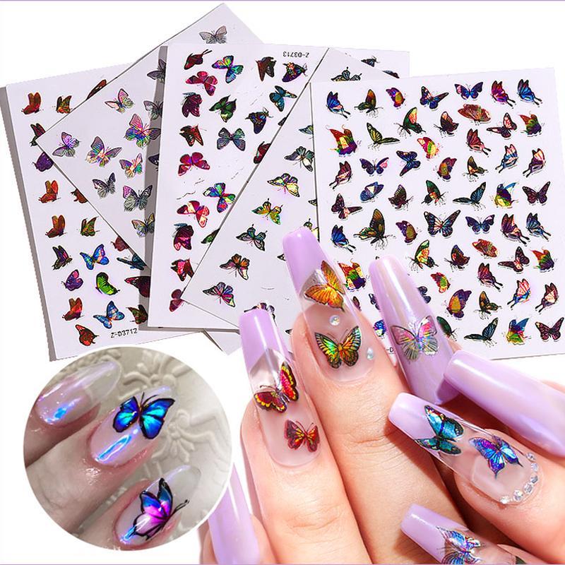 1Sheet Couleur Laser Papillon Nail Art Stickers Stickers Holographique 3D Dégradés Papillons Adhésifs Nails Décalcomanies DIY Manucure Décorations