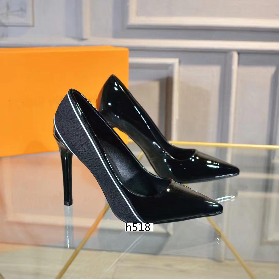 las mujeres del diseñador zapatos al por mayor rojos de tacón alto inferiores 10 cm negro cuero rojo dedos apuntando Bombas vestido tamaño del zapato 40