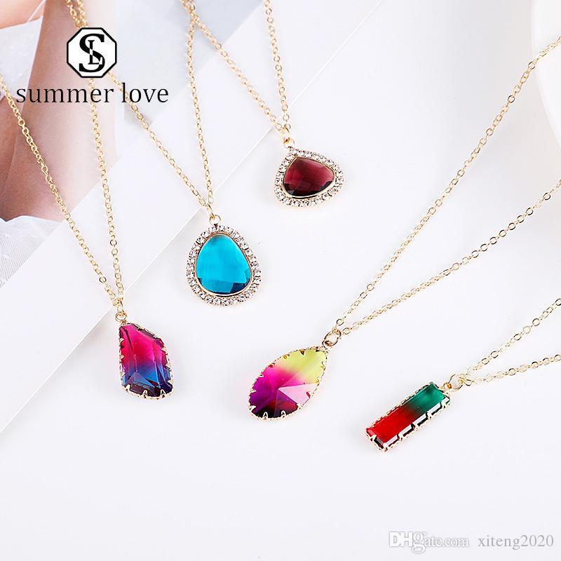 Collar del encanto de cristal nueva moda colgante de cristal de oro de la cadena redondo colorido partido de las mujeres para el collar de Shell joyería al por mayor de Y