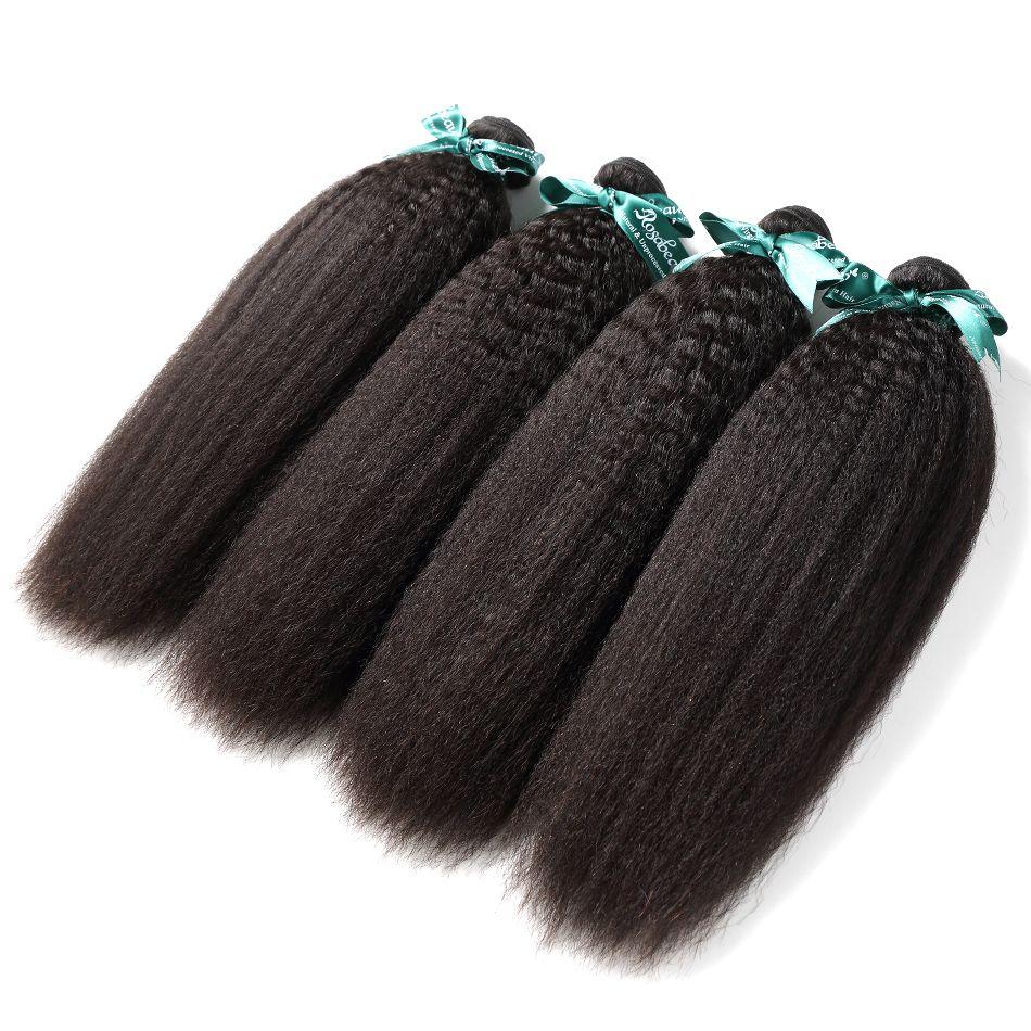 Rosa bellezza Grado 8A indiano capelli diritta crespa capelli di Remy di estensione Coarse Yaki 100% dei capelli umani tessuto Bundles Natural Black