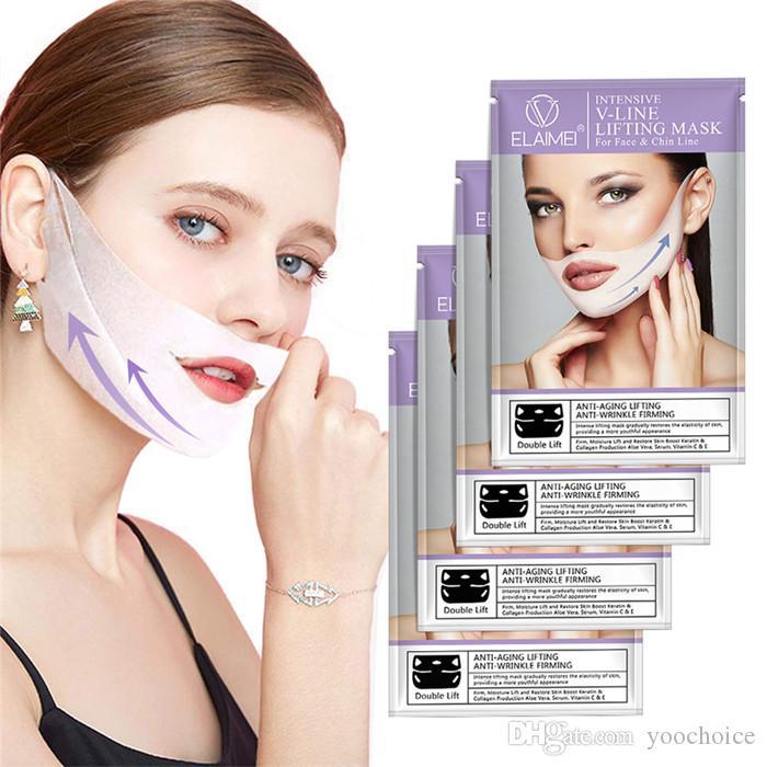 Máscara facial Elaimei con forma de V en forma de bucle de oreja 3D V-Line Lifting Mascarilla reafirmante reafirmante Apriete la mejilla de la barbilla Reduzca la hinchazón 4pcs / set
