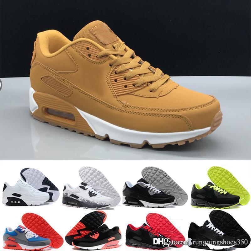 nike air max 90 airmax  deporte para hombre zapatos clásicos hombre mujer zapatillas negro rojo blanco entrenador deportivo superficie de colchón de aire transpirable zapatos
