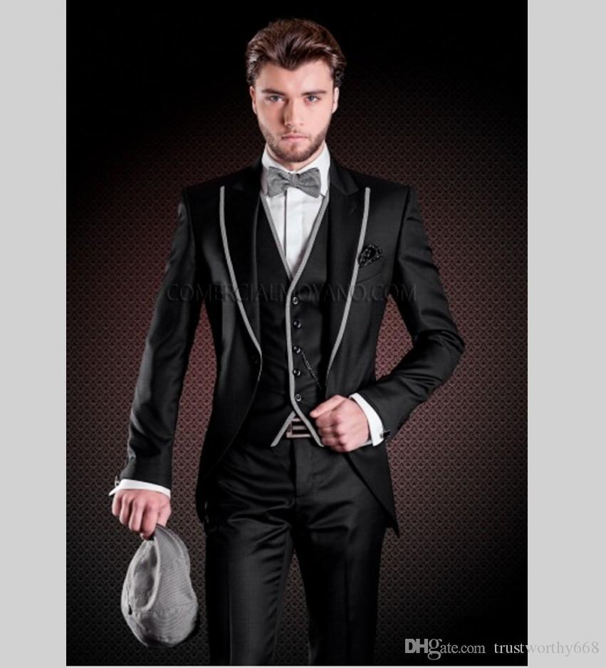 Popüler Bir Düğme Groomsmen Tepe Yaka Damat Smokin Erkek Takım Elbise Düğün / Balo İyi Adam Blazer (Ceket + Pantolon + Yelek + Kravat) 519