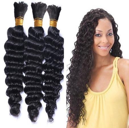 Onda profunda Bulk os pêlos Cabelo Humano Para trança Natural Color 3pcs Lote 16-28 polegadas