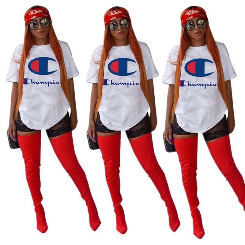 Campeones del verano camiseta de las mujeres de manga corta del O-cuello de la camiseta impresa letra remata la blusa Casual niñas camisetas fibra de la leche Ropa Blanca Tees