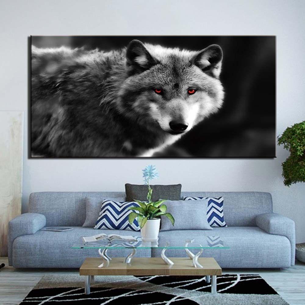 Arte della parete modulari tela HD Prints Poster Home Decor Immagini 1 Pezzo animali occhi rossi Lupo Arte Dipinti Framework No Frame