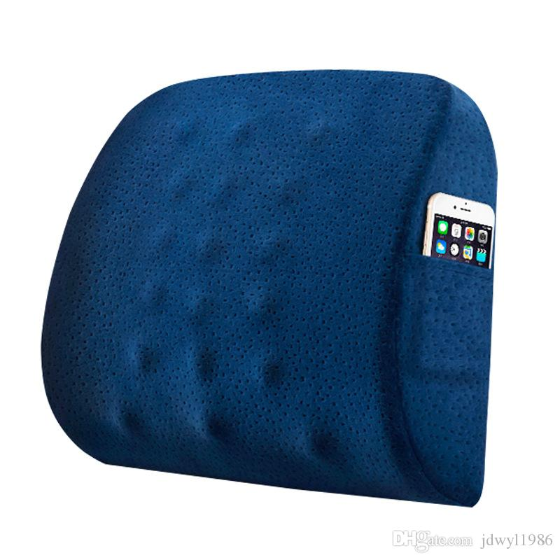 Memory Foam Lumbar Cushion Breathable Waist Cushion Back Massager for Seat Chairs Home Office Relieve Pain