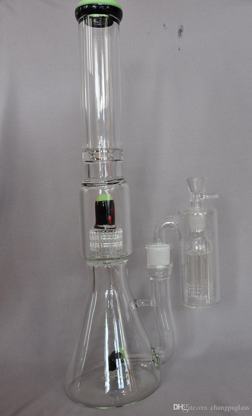 High Quality 18inch 7mm Beaker Glass Bong Water Pipe matrix percolators With Ash Catcher 18.8mm joint with bowl or banger