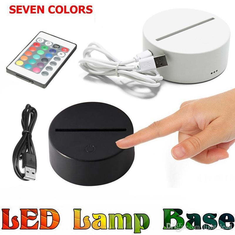أدى RGB أضواء تبديل 3D لمس مصباح قاعدة ل3D الوهم مصباح 4MM الاكريليك ضوء الفريق 2A بطارية أو DC 5V USB