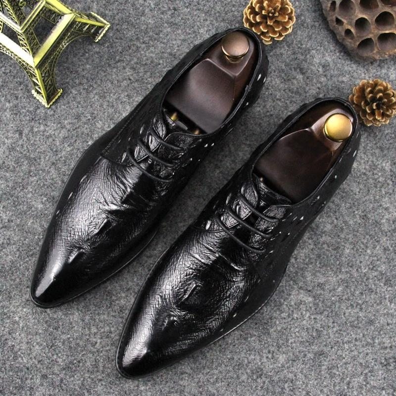 Super design Handmade Men's Dress shoes Luxury Imported Croco Leather Oxford Shoes,Lace up Pointed toe Business shoes Super Quality MCS 050