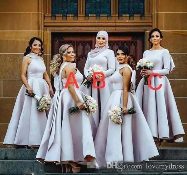 2021グレーユニークネックビッグボウブライドメイドドレスティーレングスサテンプラスサイズパーティーウエディングアフリカの結婚式のゲストドレスイブニングフォーマル