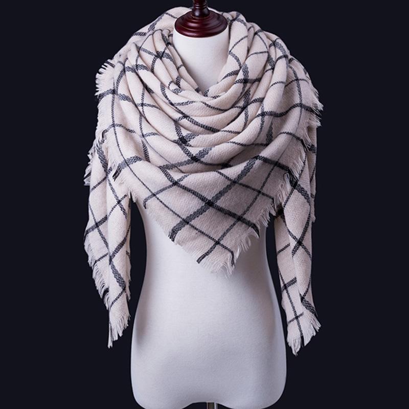 de la tela escocesa de las mujeres del color de las bufandas simples triangular 140 * 140 * 210 cm cachemira caliente del otoño invierno Chales abrigos de la bufanda de las mujeres