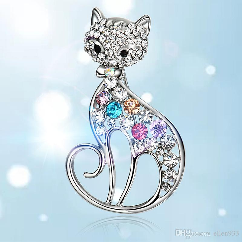5 unids / set Retro kitty forma zircon material broche broche envío gratis al por mayor