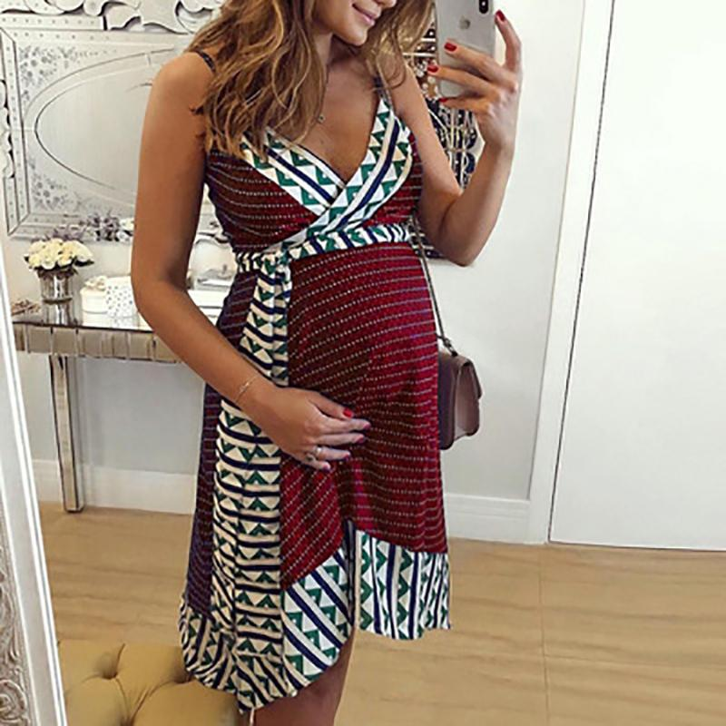2020 New Sling Maternity Pregnant Dress For Pregnant Women Summer Plus Size Dress Pregnancy Clothes
