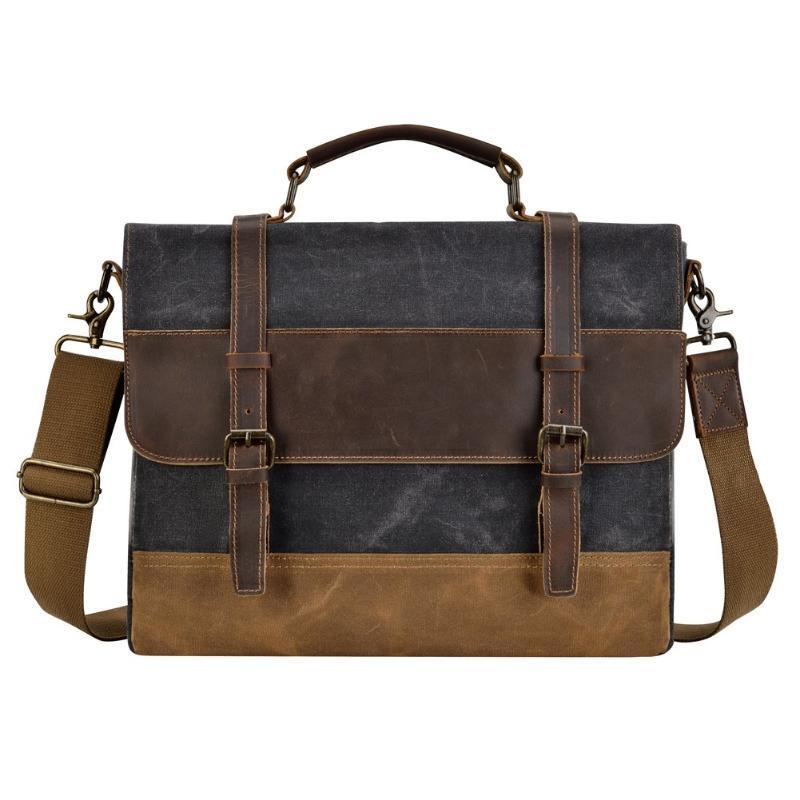 Mens Messenger Bag 15,6 Zoll wasserdichte Segeltuch-Leder-Aktenkoffer Waxed Canvas Aktentasche Weinlese-Leder-Computer-Laptop-Tasche Satchel