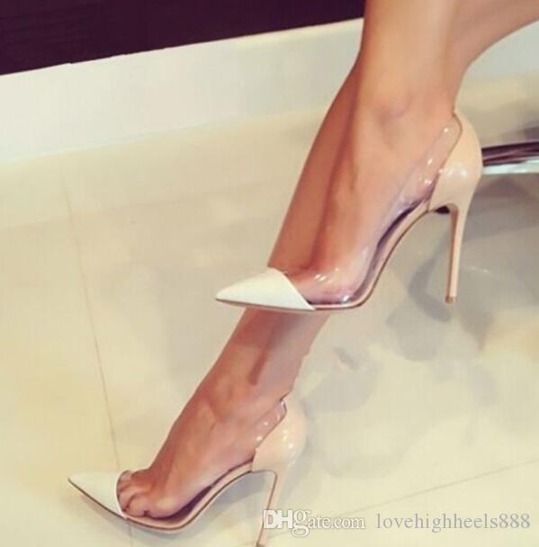 Nude Gold Rot Lackleder Damen Pumps Plexiglas Klar PVC High Heels Schuhe Spitz Pfennigabsatz Party Schuhe