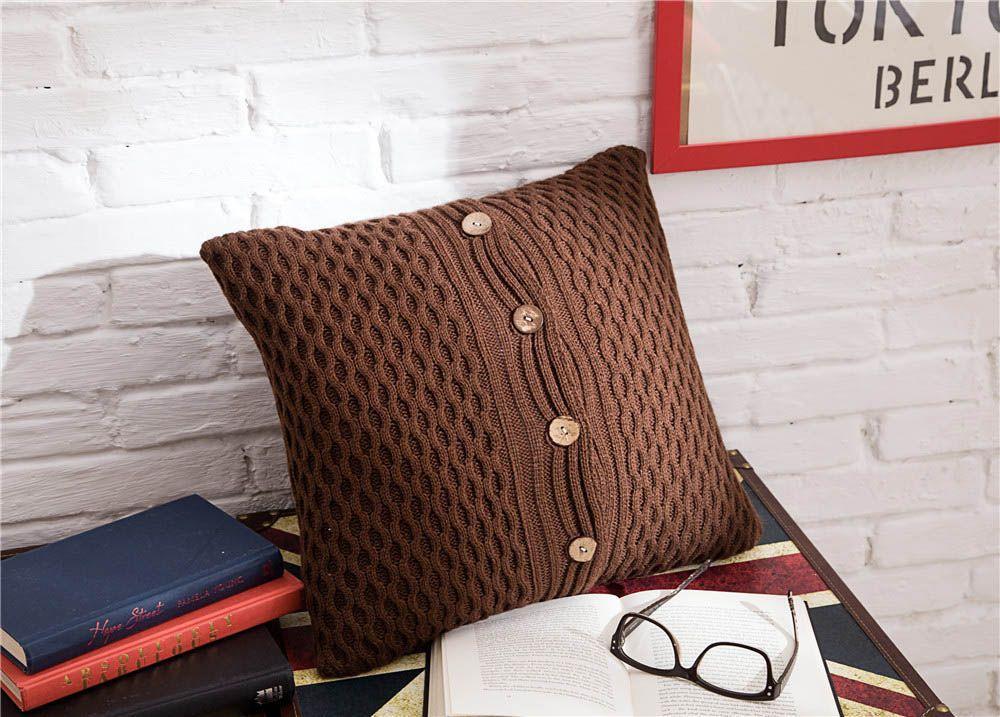 Tricô De Lã Almofada Cobre Com Coco Shell Botão Padrão de Onda Geométrica Cor Sólida Travesseiro Cobre Sofá Cadeira Decoração