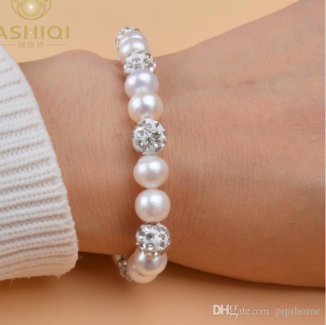 Naturales perlas de agua dulce brazaletes de las pulseras para las mujeres con arcilla blanca bola circón joyería regalo Elasticidad