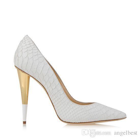 Peixe branco Padrão De Couro Spike Heels Mulheres Bombas Famosa Marca Designer de Festa de Formatura Sapatos de Casamento Para A Noiva Sapatos de Casamento Mulher Tamanho Grande 42