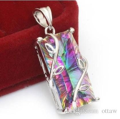 Silver Floral Necklace Large Emerald Cut Mystic Rainbow Topaz Leaf Pendant Gemstone Collar Christmas New Year Anniversary Gift