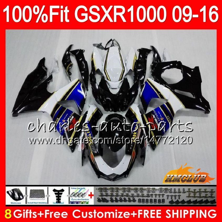 Inyección Para SUZUKI blanco negro GSXR1000 2009 2010 2011 2012 2014 2016 2016 16HC.21 GSXR-1000 K9 GSXR 1000 09 10 11 12 13 15 16 Carenado