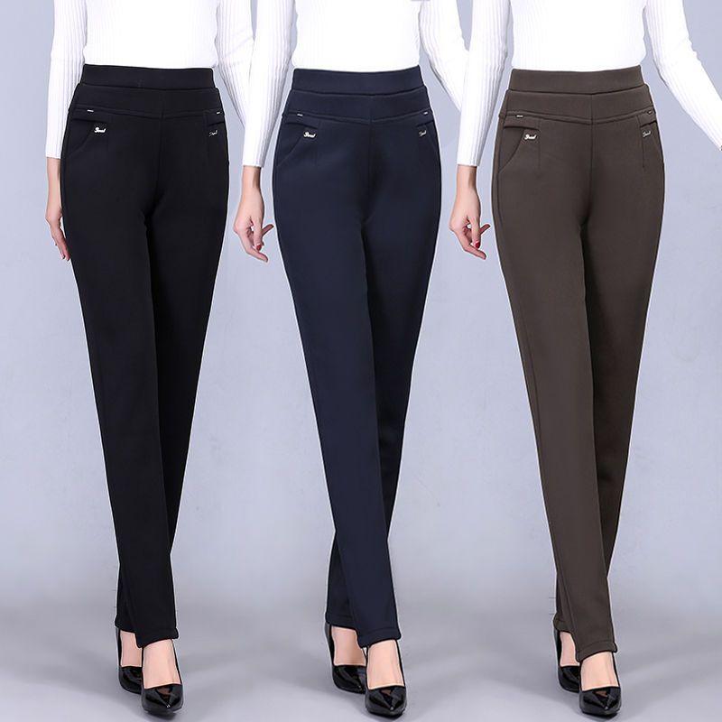 중년 오래된 여성 2020 봄 여름 새로운 패션 스트레이트 팬츠 여성 캐주얼 탄성 높은 허리 정장 바지의 A202