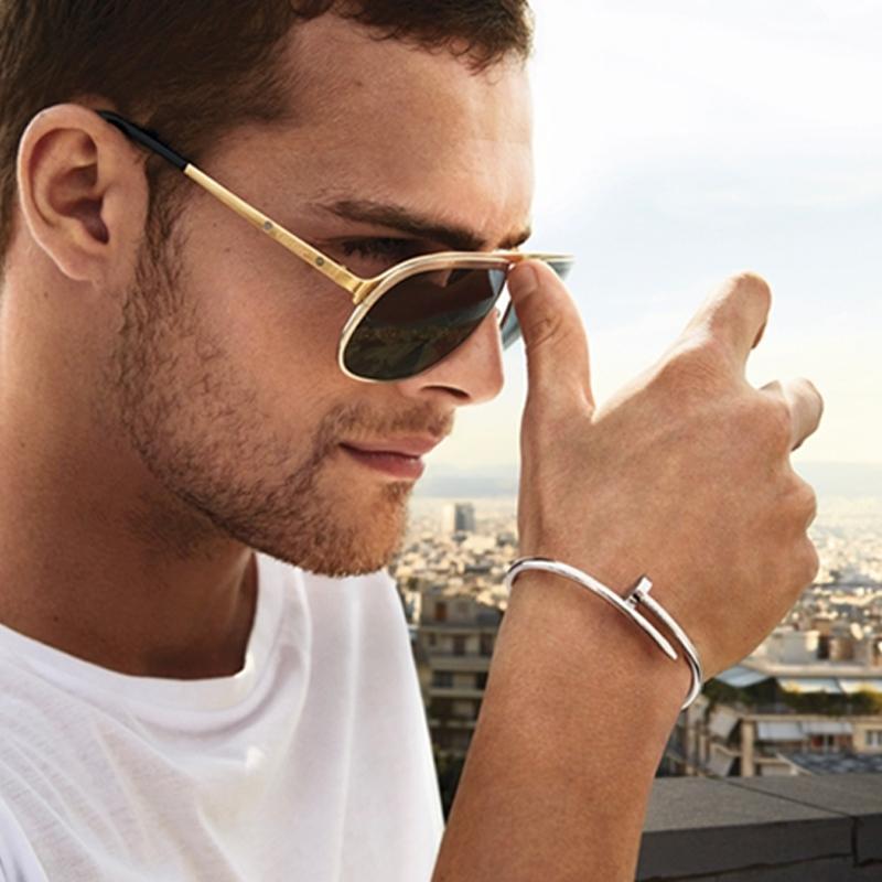 Titan Stahl Nagel Armband Inlay Diamant Schraubnagels Geschlossenes Armband Frauen Männer Schmuck Valentinstag Geschenk mit Samtbeutel