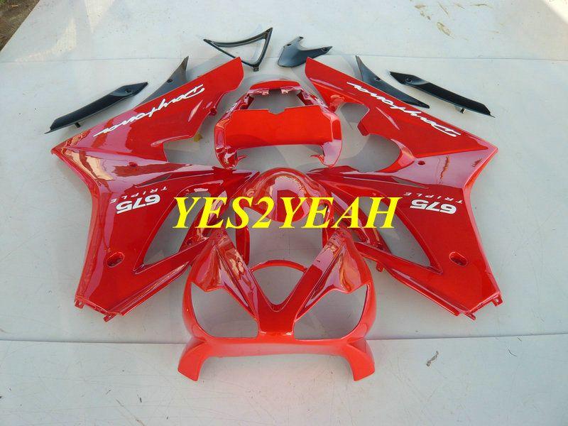 Carénage Injection kit carrosserie pour Triumph Daytona 675 05 06 07 08 Carrosserie DAYTONA675 2005 2008 Kit carénage ABS rouge + Cadeaux DA10