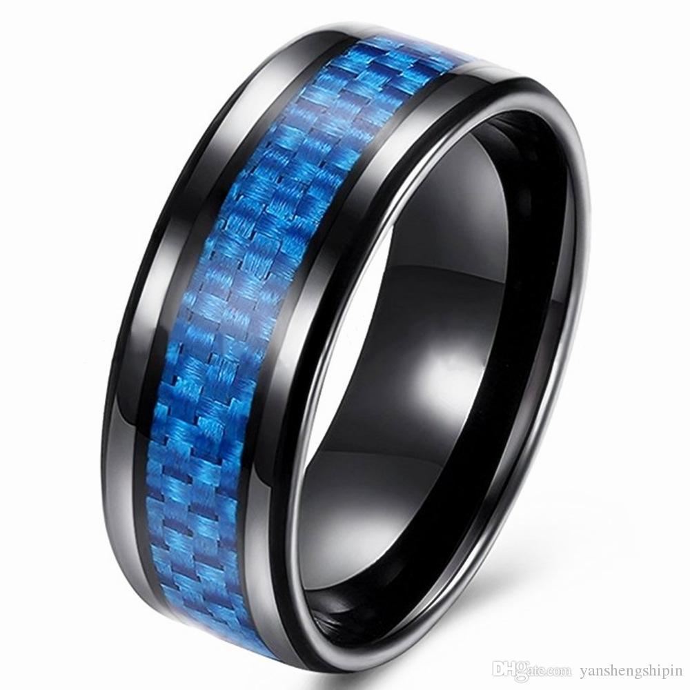 Erkek 8mm Siyah Tungsten Karbür Yüzük Mavi Karbon Fiber Düğün Band Cilalı Bitirmek Konfor Fit ABD Boyutu 6-13