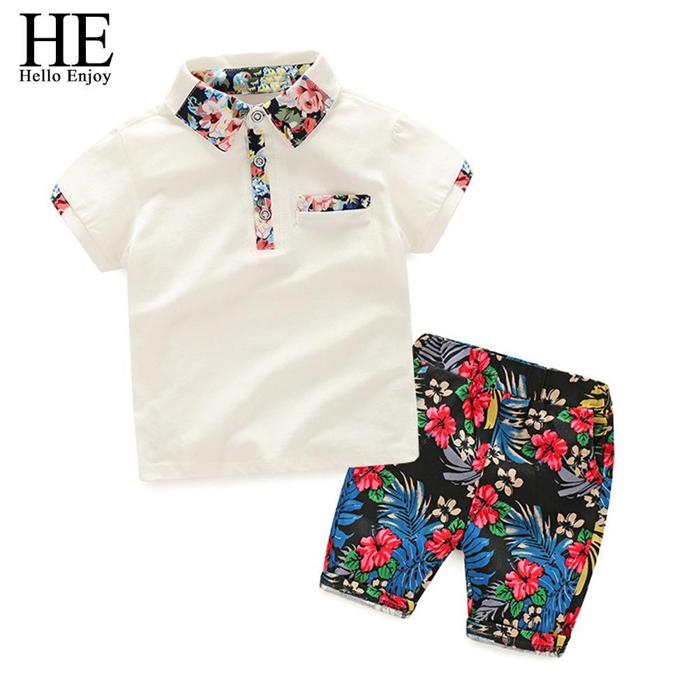 He Hello Enjoy Summer Set Boy Clothes Kids Short Sleeves Print Shirt+flower Shorts 2pcs Suit Children Clothing Q190523