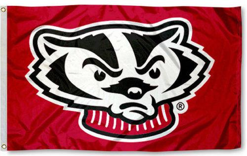Wisconsin Badgers Mascot Flag 3x5Ft Double Stitched 90x150cm Sports Festival Gift Polyester Decoration Digital Printed In stock