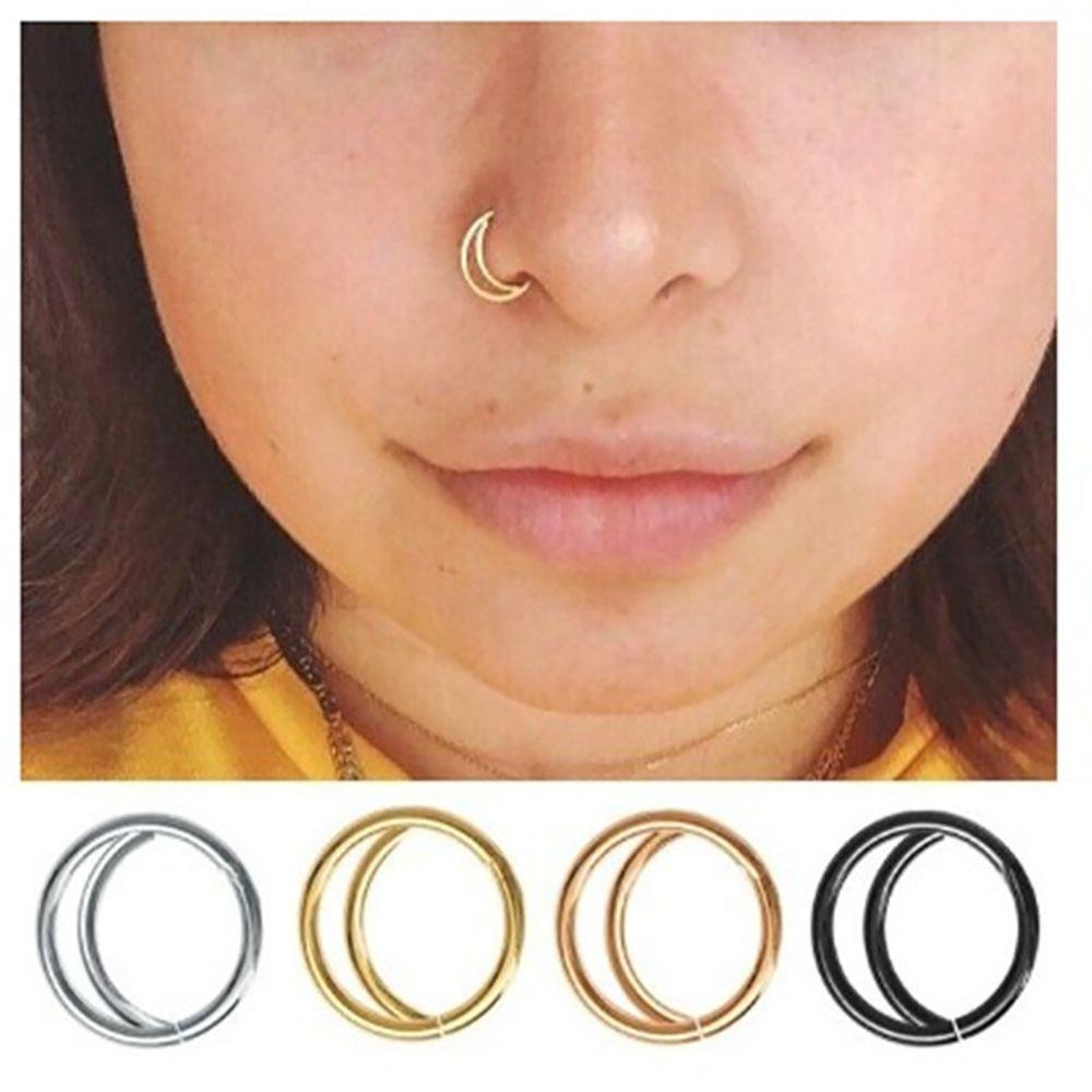 Luna Hoop naso anello in acciaio inox Earbone Anello Earbone Piercing Piccolo Gioielli Body Ornament Setto Anello 8 millimetri / 10mm