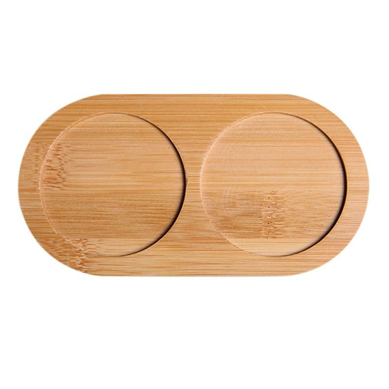 Bamboo Salt And Pepper Shaker Stand Tray Kitchen Storage Holder Pepper Mil Desktop Plate Display Tray Clean Elegant Style
