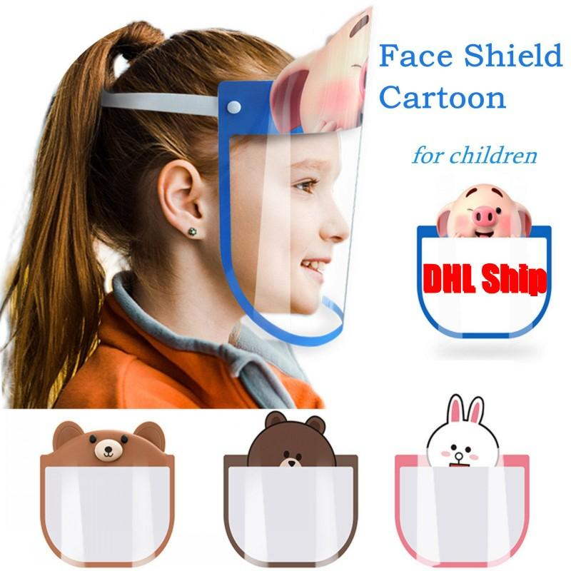 US STOCK Protective Face Mask Children Anti Splash Full Kids Cartoon Shield Dust Saliva Transparent Head-mounted Isolation