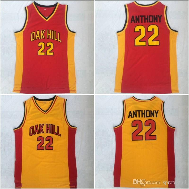 # 22 Carmelo Anthony Basketball Chemises Mens Melo Carmelo Anthony Oak Hill Hill School Lycée Jersey de basketball cousu